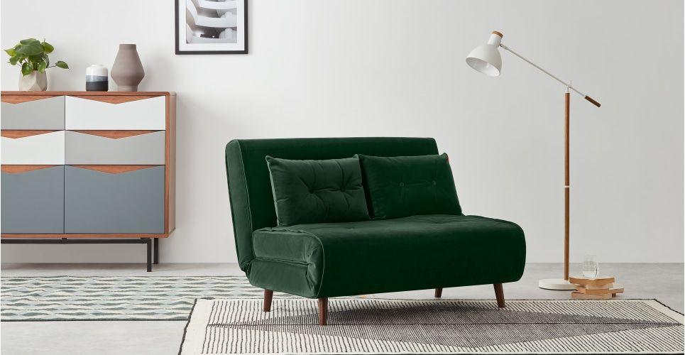 Haru Small Sofa Bed Pine Green Velvet Small Sofa Small Sofa Bed Sofa Bed Design
