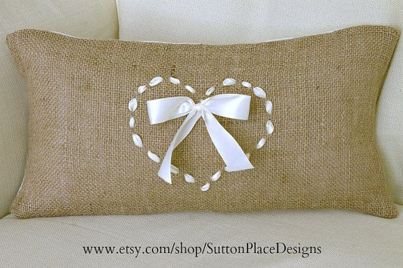 HAND TIED Ribbon Heart Linen Throw Pillow Cover Beige decorative stitching New