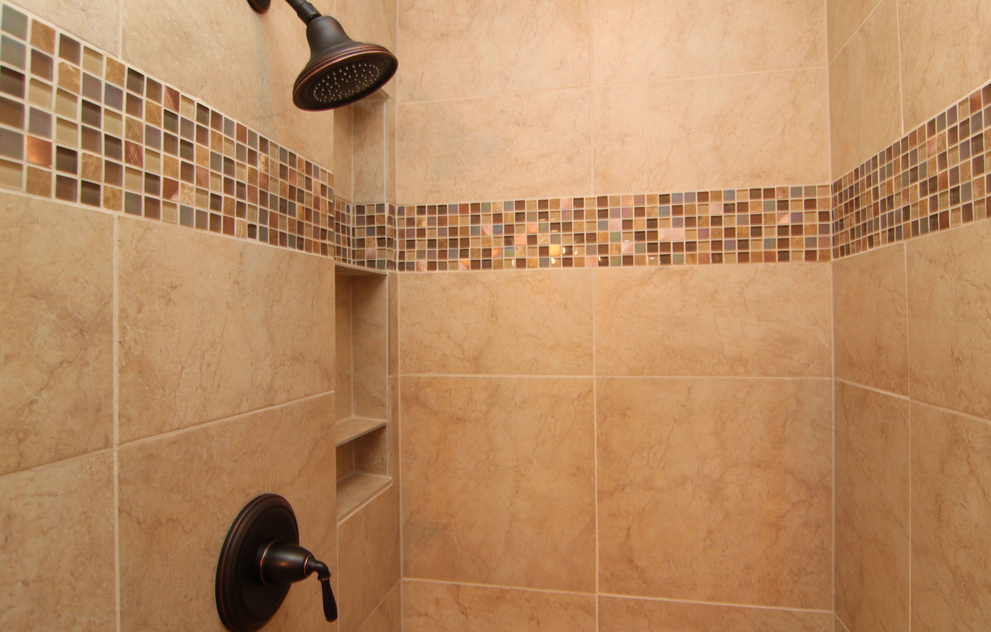 Here is a close up look at the master shower with a shampoo caddie