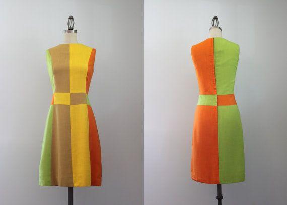 68373a1c4e 60s Dress   Vintage 1960s Mod Color Block Dress   Sixties Linen Shift Dress