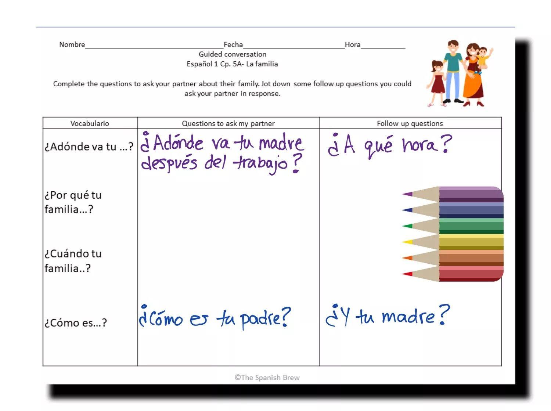 Spanish 1 Speaking Worksheets On Family House Chores
