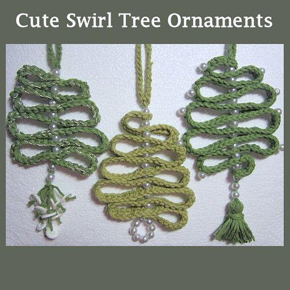Crochet Christmas Swirl Tree Ornament by HandandHookCrochet ...
