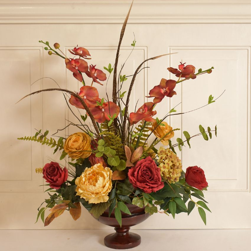 Silk Flower Arrangement With Orchids And Roses Ar415 Make A Statement With This Lovely Design Flower Arrangements Floral Arrangements Fall Flower Arrangements Artificial floral arrangements for home