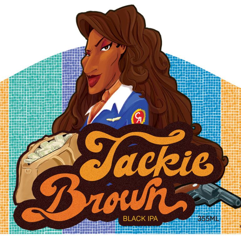 Rótulo de Cerveja com a personagem Jackie Brown / Jackie Brown themed label for a beer bottle (Guerrinha – Ilustração e design). Beer: Notorious Cervejaria