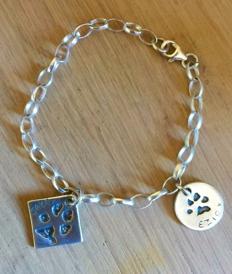 6957c16c4c81a Bespoke Charm bracelet sterling silver with your dog print www ...