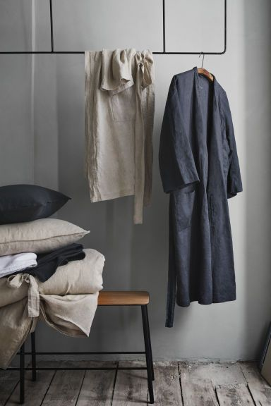 b9c60bb045 Washed linen dressing gown - Anthracite grey - Home All
