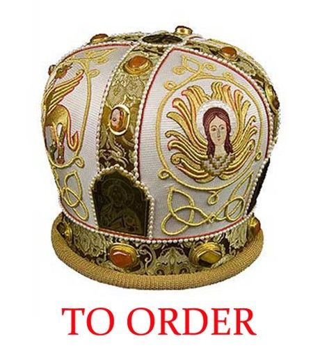 The Four Evangelists White Mitre http://catalog.obitel-minsk.com/zsh-m-1-mitra-belaja-evangelisty.html?&___store=default #Orthodox #Orthodoxy #Priest #Vestments #Russian-Style #Church #Handmade #Mitre
