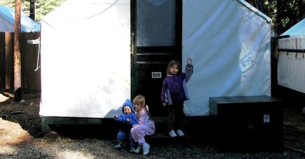Our tent cabin at Curry Village in Yosemite National Park & Travels with Baby: Review of Curry Village Tent Cabins at Yosemite ...