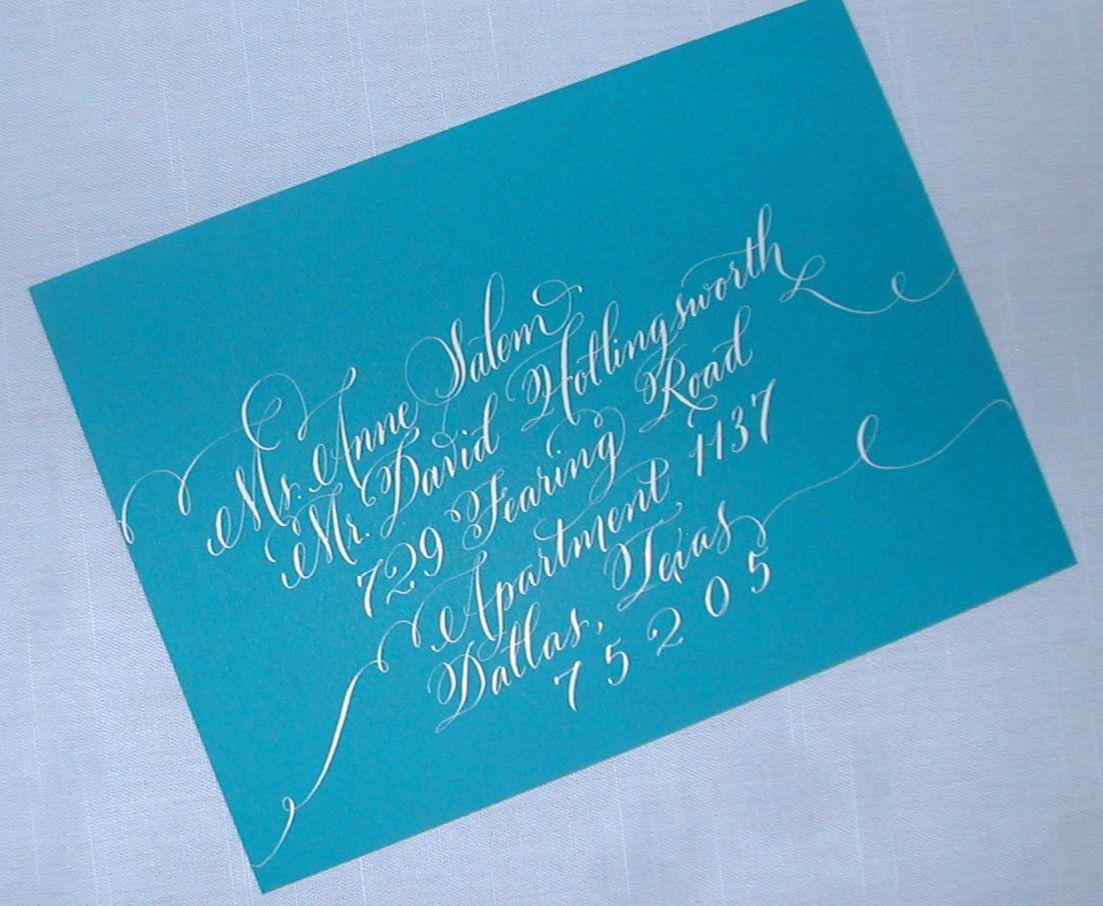 Peacock Blue Envelopes With White Lettering Lettering Art