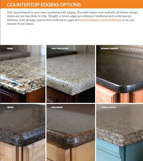 countertop edge options  kitchen redo ideas  Quartz