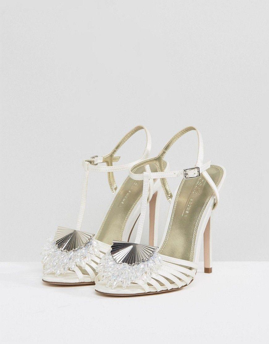f4b0b313fe7e7 ASOS HONEY BLOOM Bridal Embellished Heeled Sandals - Cream  SandalsHeels