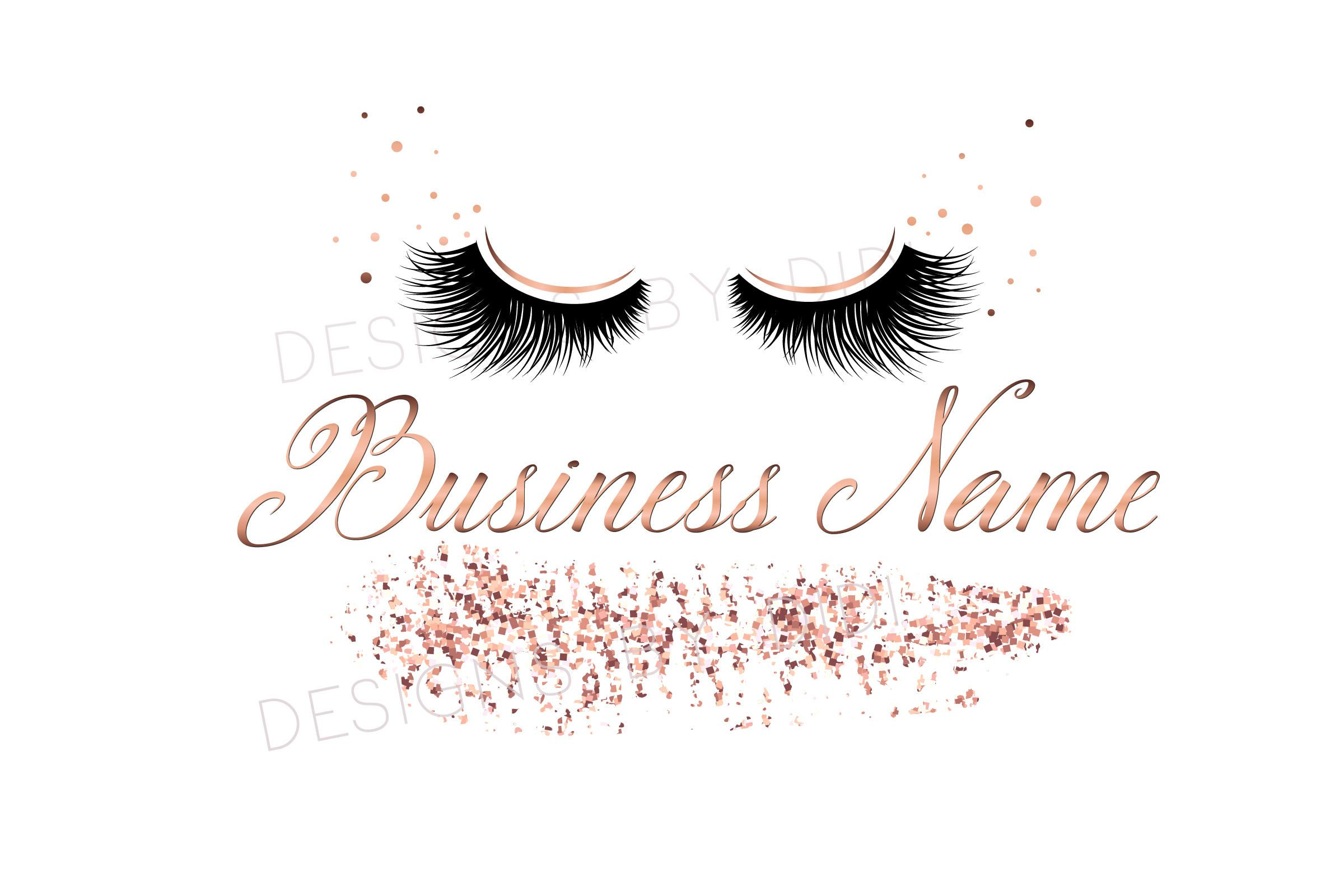 Custom logo, rose gold lashes logo, glitter eyelash logo