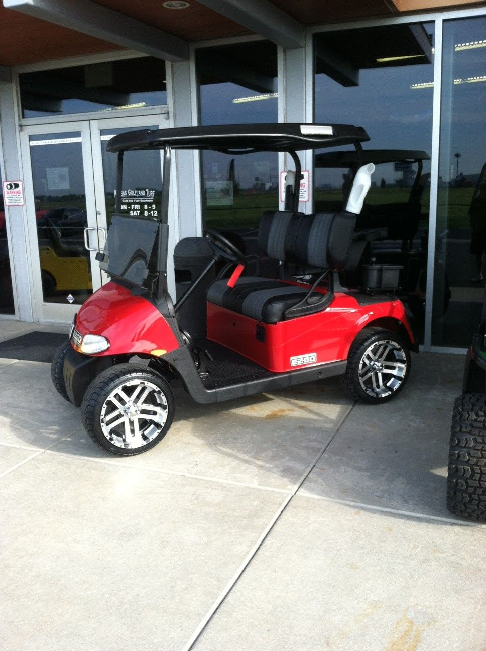 Red Golf Cart With Custom Black Seats With 10 Anchor Accent Golf Carts Perfect Golf Golf Club Grips