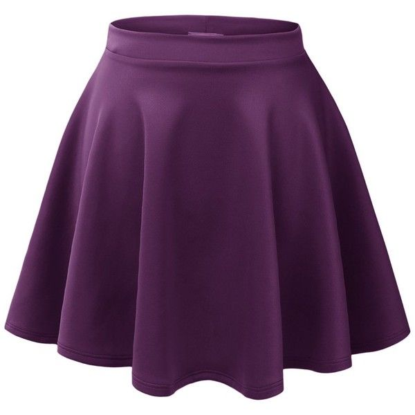 MBJ Womens Basic Versatile Stretchy Flared Skater Skirt ($6.89) ❤ liked on Polyvore featuring skirts, stretch skirt, skater skirt, flared hem skirt, stretchy skirts and purple skater skirt