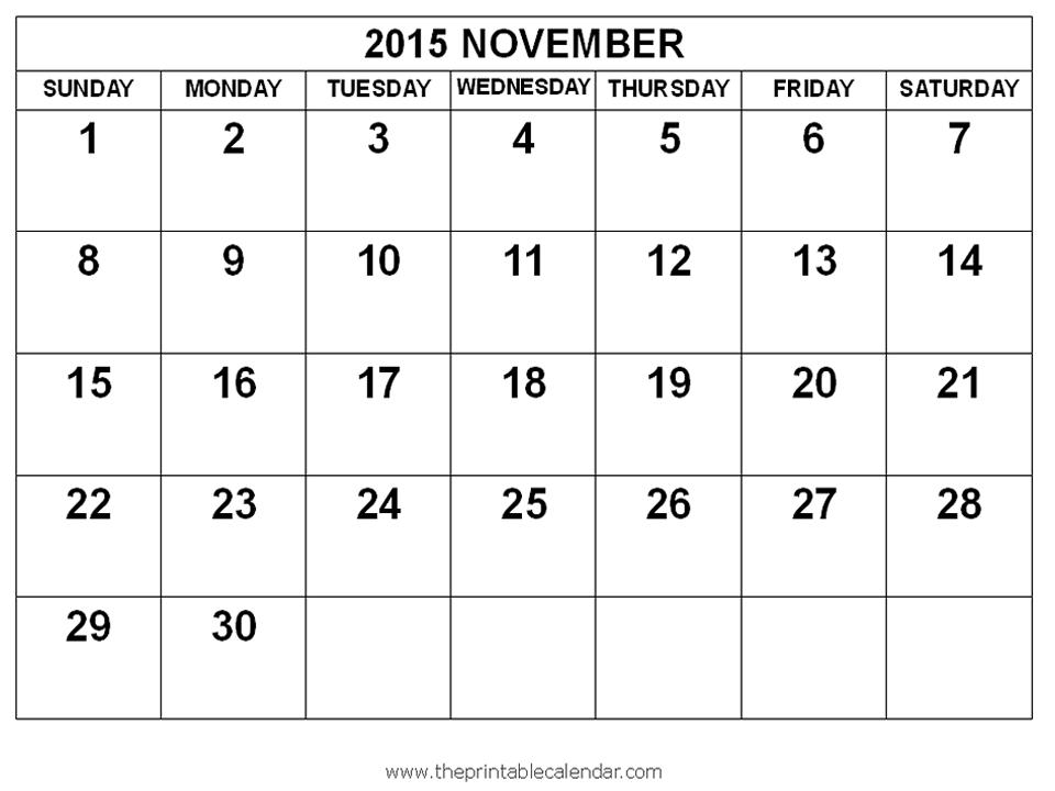 November Calendar 2015 With Holidays : Nov calendar