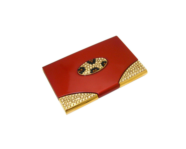 Amazon.com: Swarovski Crystallized Leopard Print Gold/Red Plastic ...