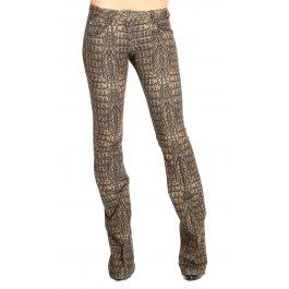 ROBERTO CAVALLI  FLARED TROUSERS CROCODILE PRINT DENIM  Price: $450.61  Shop @ Giglio.com