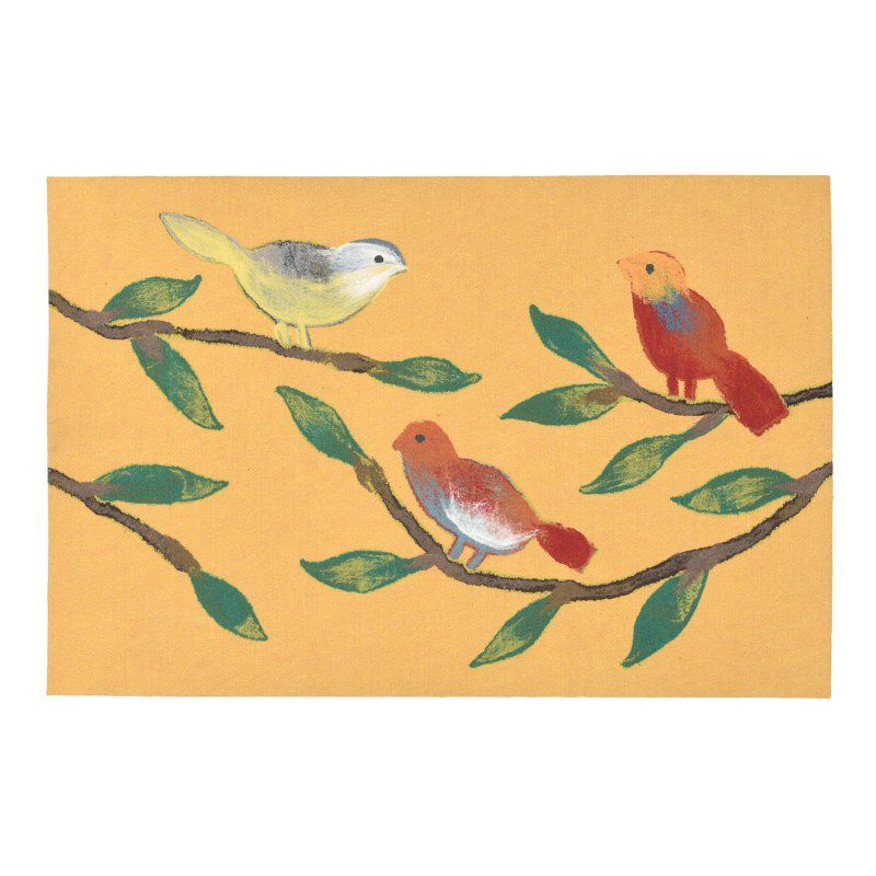 Liora Manne Visions III 3254 Chirp Birds Indoor / Outdoor Doormat Yellow - VRC12325409