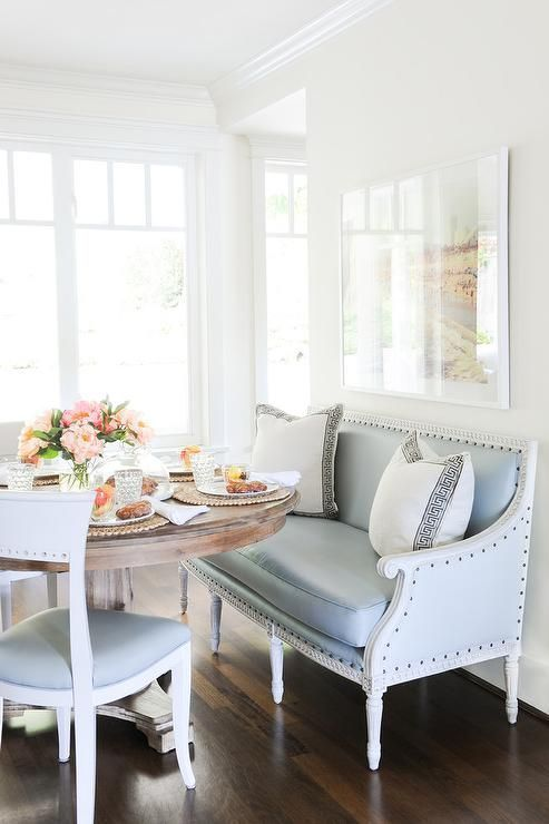 Soft Blue Touches Coastal Style Dining Room Trends Settee