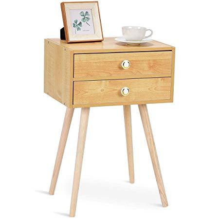 amazon giantex nightstand w/2 drawers for bedroom