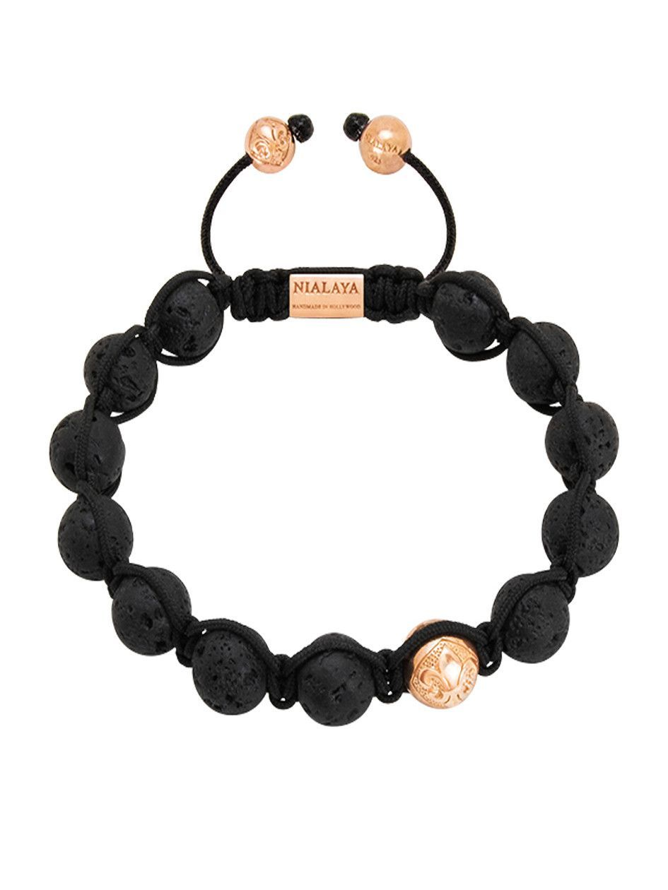 Nialaya Mens Lava Stone Rose Gold Bracelet 256 Jewelry