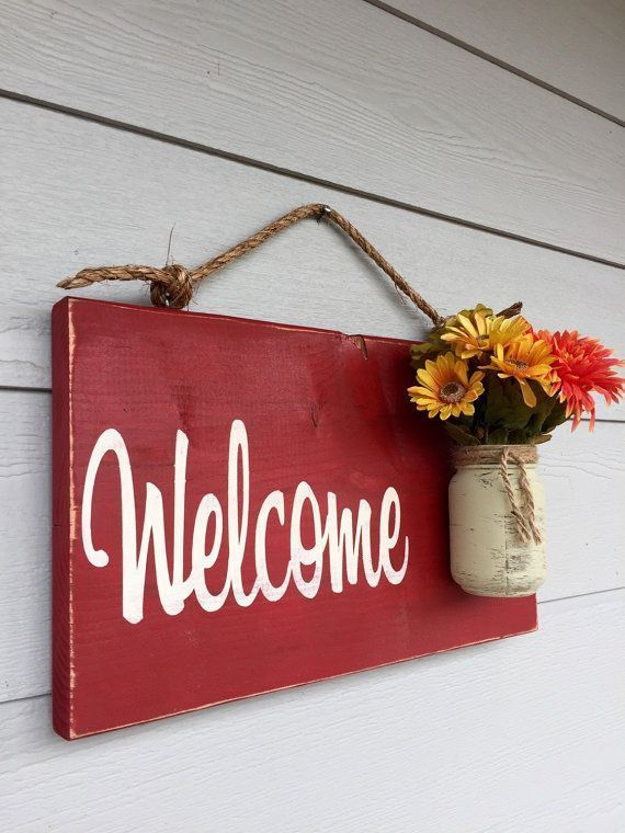 Photo of Country welcome sign farmhouse distressed, outdoor hanging sign red country rustic, rustic home decor spring decorations, front porch decor