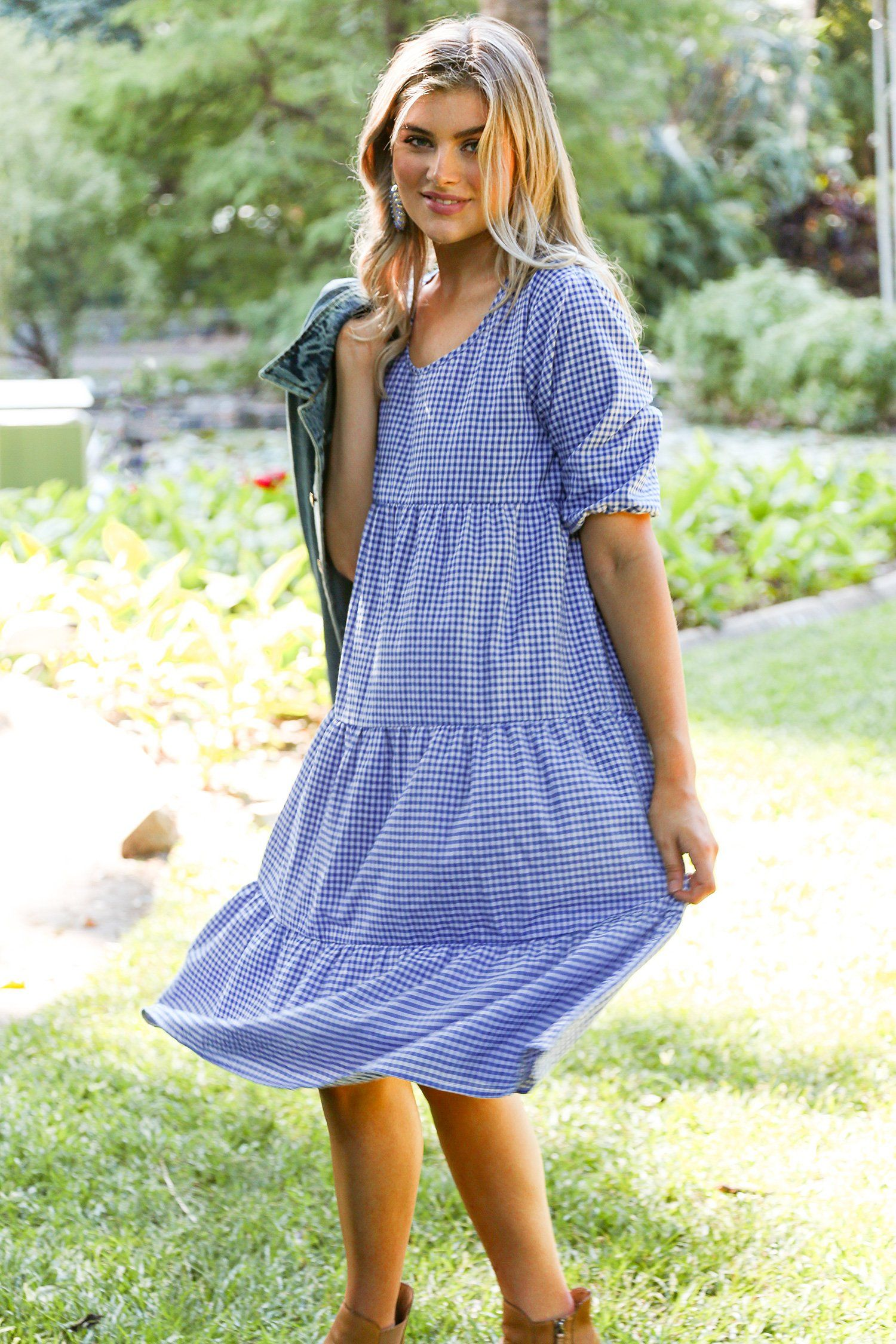 Sabre 3 4 Sleeve Dress In Blue Gingham Ad Sponsored Sleeve Sabre Dress Gingham Blue In 2020 Spring Outfits Casual Dresses With Sleeves Casual Fashion [ 2250 x 1500 Pixel ]