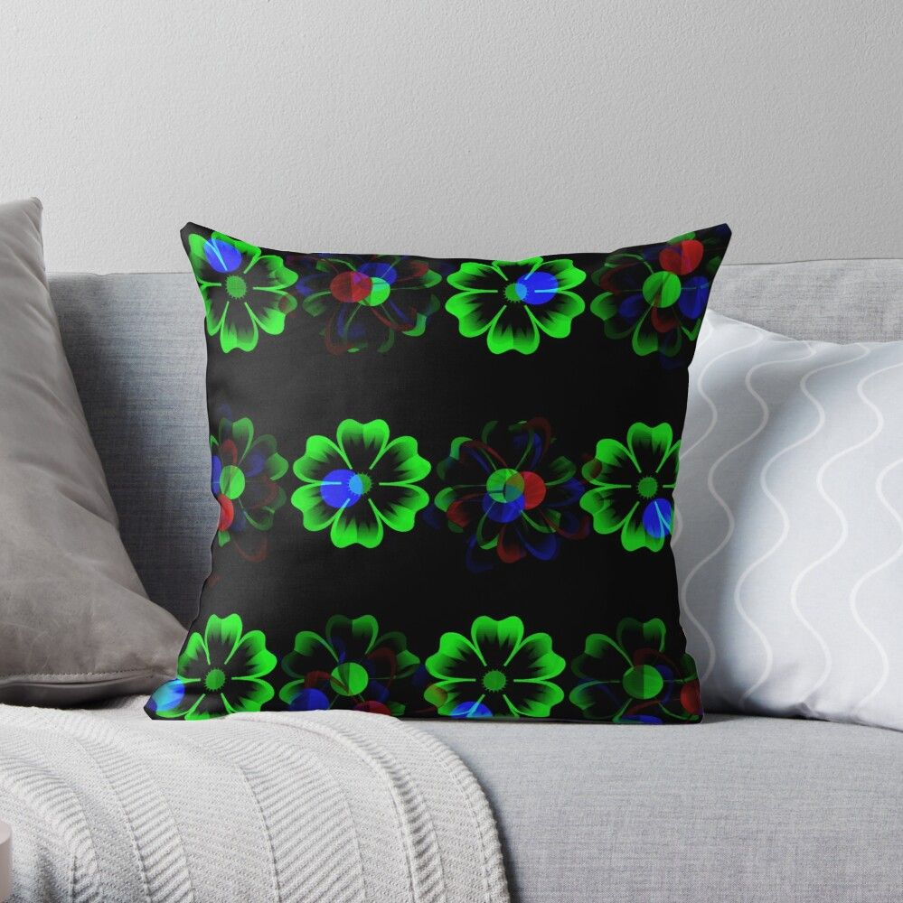 Get My Art Printed On Awesome Products Support Me At Redbubble Rbandme Https Www Redbubble Com I Throw Pillow Neon G Throw Pillows Neon Glow Green Flowers