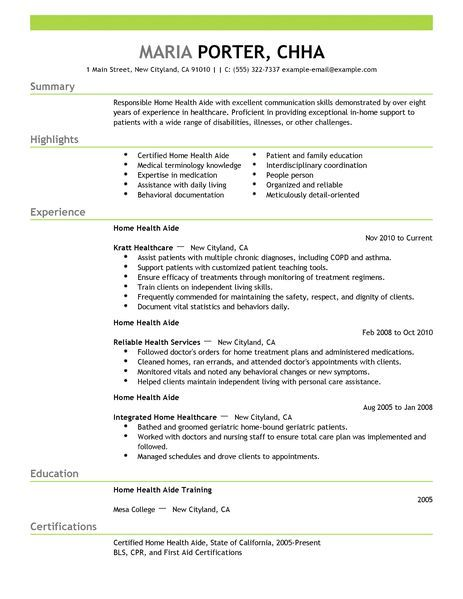 Home Health Aide Resume Examples Healthcare Sample More Experience