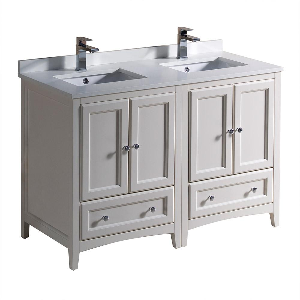 Fresca Oxford 48 In Double Vanity In Antique White With Quartz
