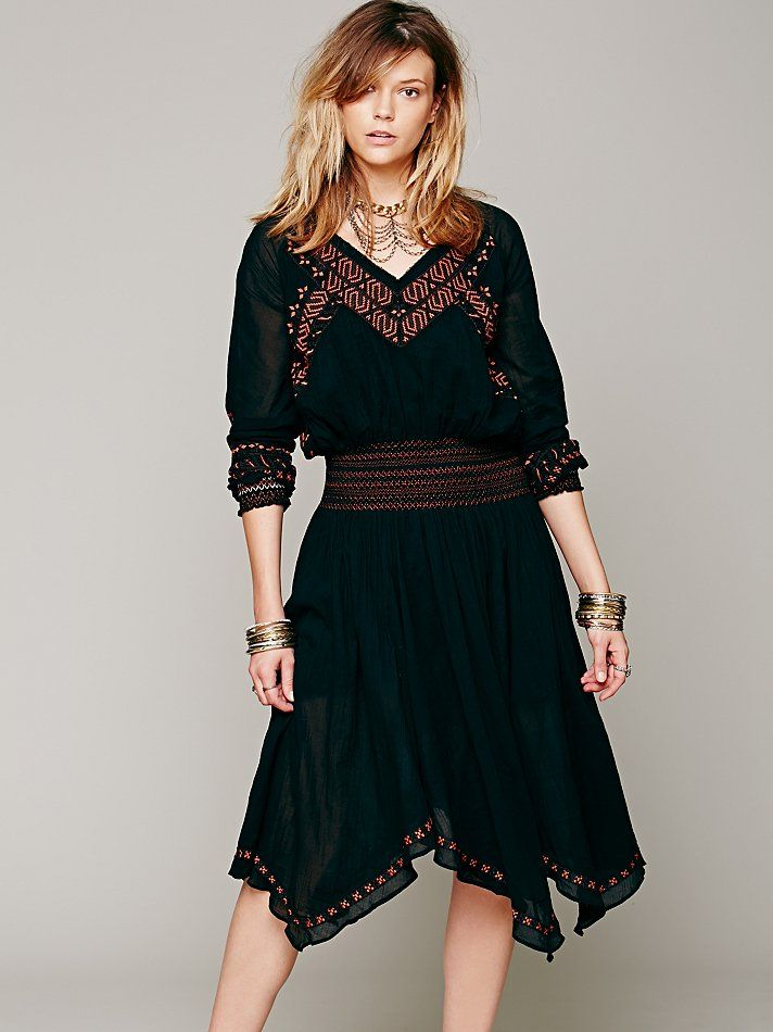 17e748fd831 Free People Neo Folk Embroidered Dress in Black (Black )