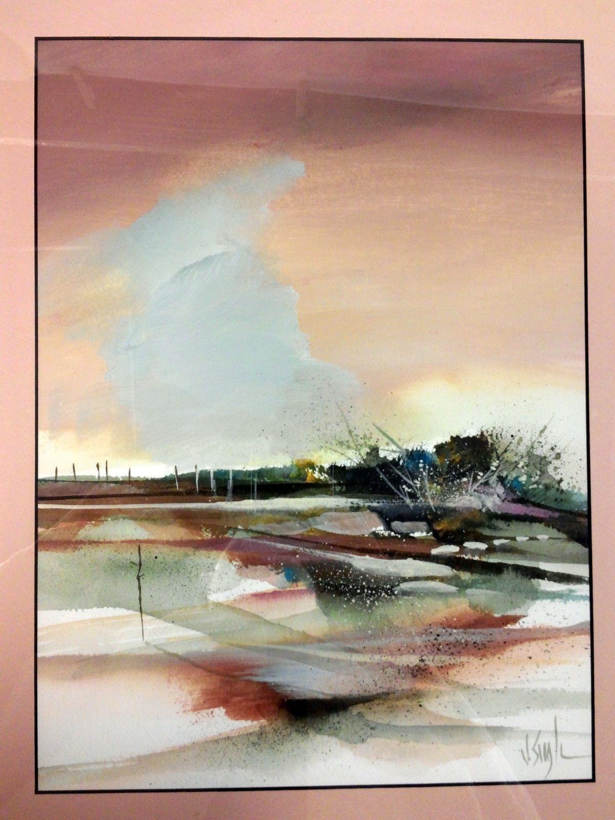 Jerry J V Seagle Original Watercolor Framed Texas Artist Landscape ...