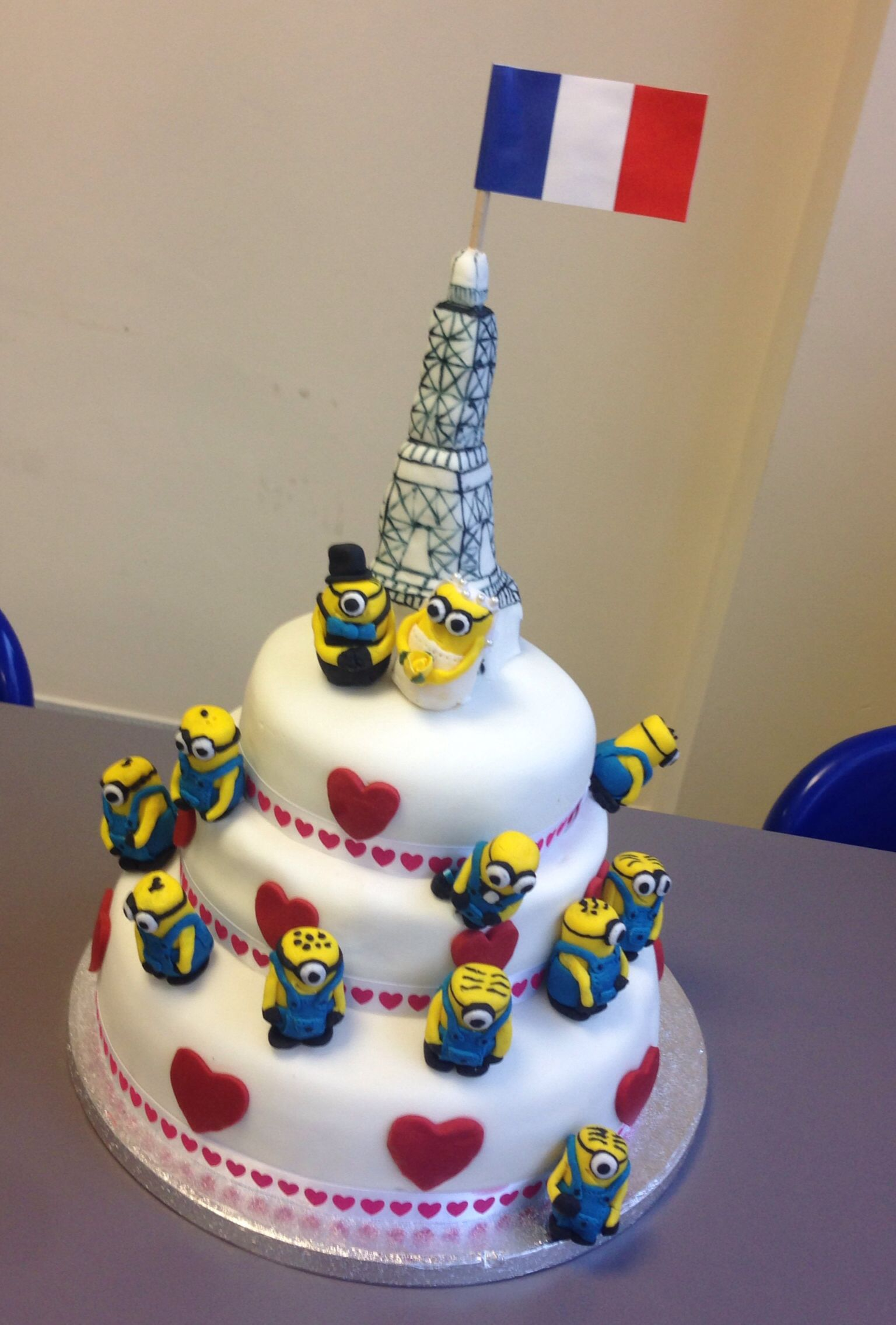 Minion Wedding Cake  Made this with two colleagues for the business     Minion Wedding Cake  Made this with two colleagues for the business  valentine bake off  We WON