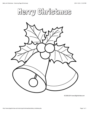 Christmas Coloring Page With Bells Mistletoe And The