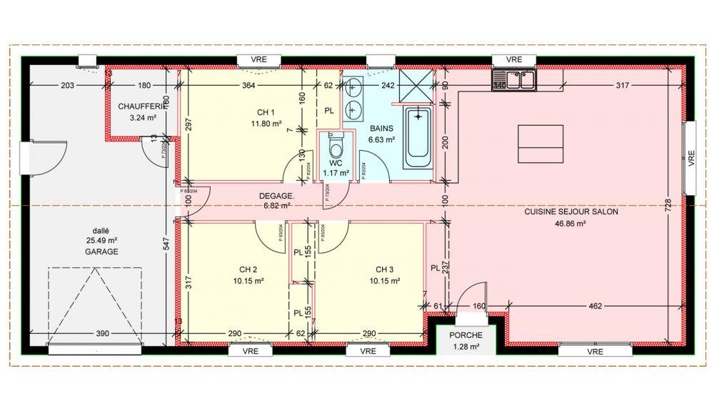 Maisons plain pied 3 chambres de 97 m² construite par Demeures - plan maison  plain pied