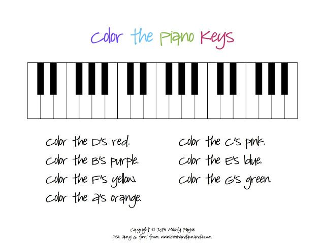 Color The Piano Keys Sheet Pianos Music Lessons For Kids