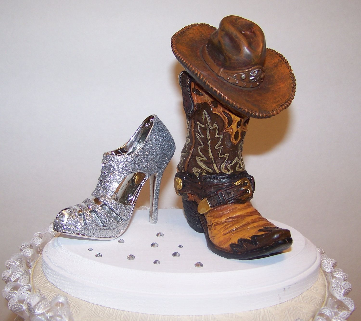 Western Cake Topper Wedding Cowboy Boot And Glittered Heel Swarovski Crystals