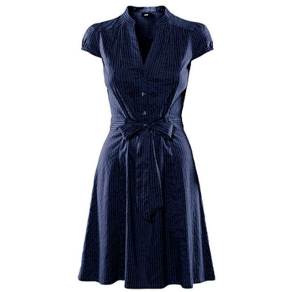 H&M Belted Dress ❤ liked on Polyvore featuring dresses, h&m dresses, belt dress, blue dress, blue dress with belt and dresses with belts