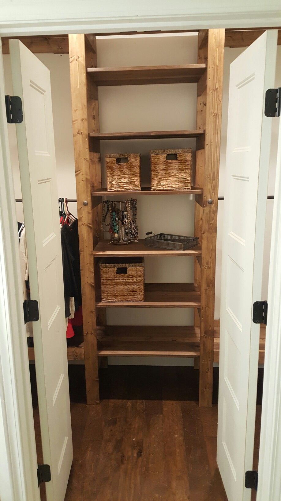 Master Closet Shelving Unit Made From 1x4 And 1x8.