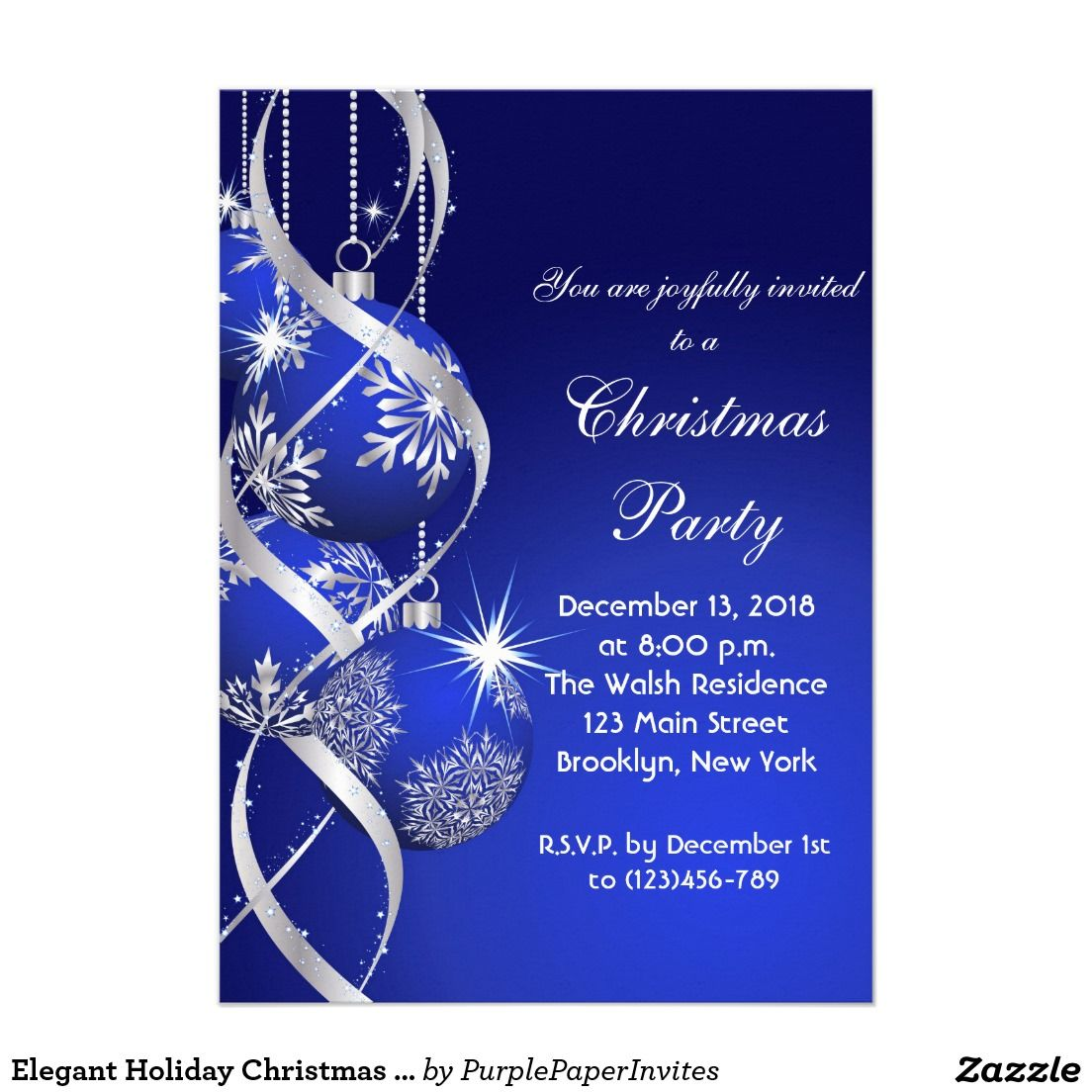 Elegant Holiday Christmas Party Invitation Card | Christmas Party ...