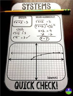 Systems of Equations Quick Check Sheet is part of Systems of equations, Graphing linear equations, Differentiation math, Teaching algebra, Free math resources, Equations - This free pdf quick check sheet is a perfect way to evaluate student understanding of systems of equations  It's super versatile! The sheet can be used for graphing linear equations and even nonlinear functions!