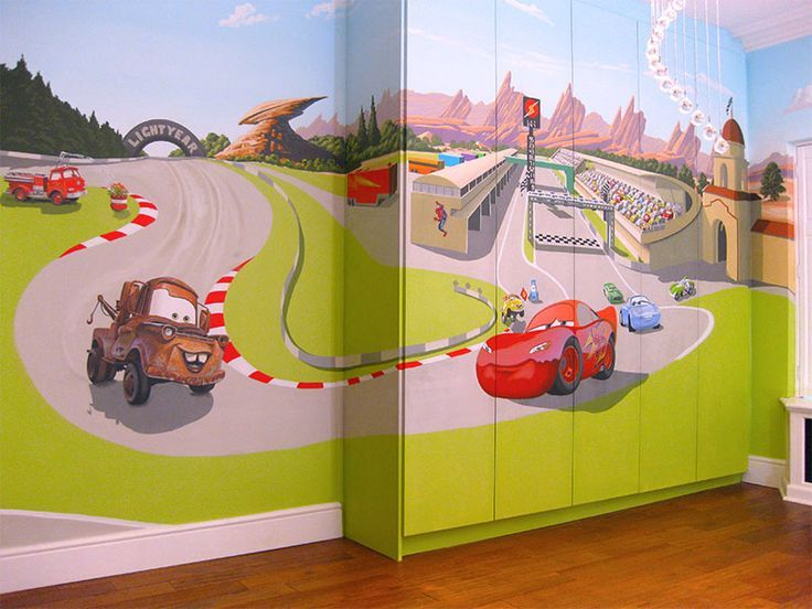 Lightning mcqueen wall mural mural disney pinterest for Bedroom mural painting