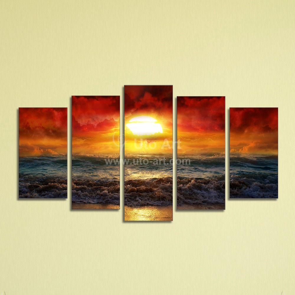 Cheap-5-Panel-Wall-Art-Painting-Ocean-Beach-Decor-Canvas-Prints ...