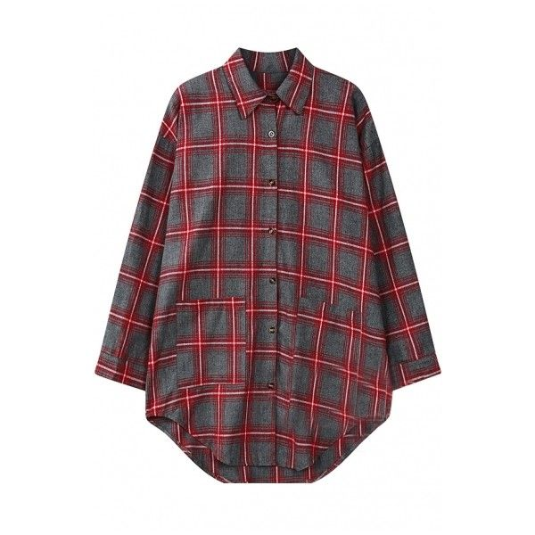 Plaid Lapel Long Sleeve Single-Breasted Double Pocket Shirt ($17) ❤ liked on Polyvore featuring tops, longsleeve shirt, long sleeve tops, red plaid top, shirts & tops and long sleeve shirts