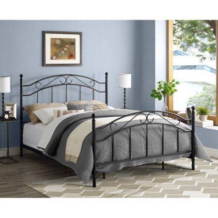 Mainstays Queen Metal Bed Black Walmart Com Queen Size Bed