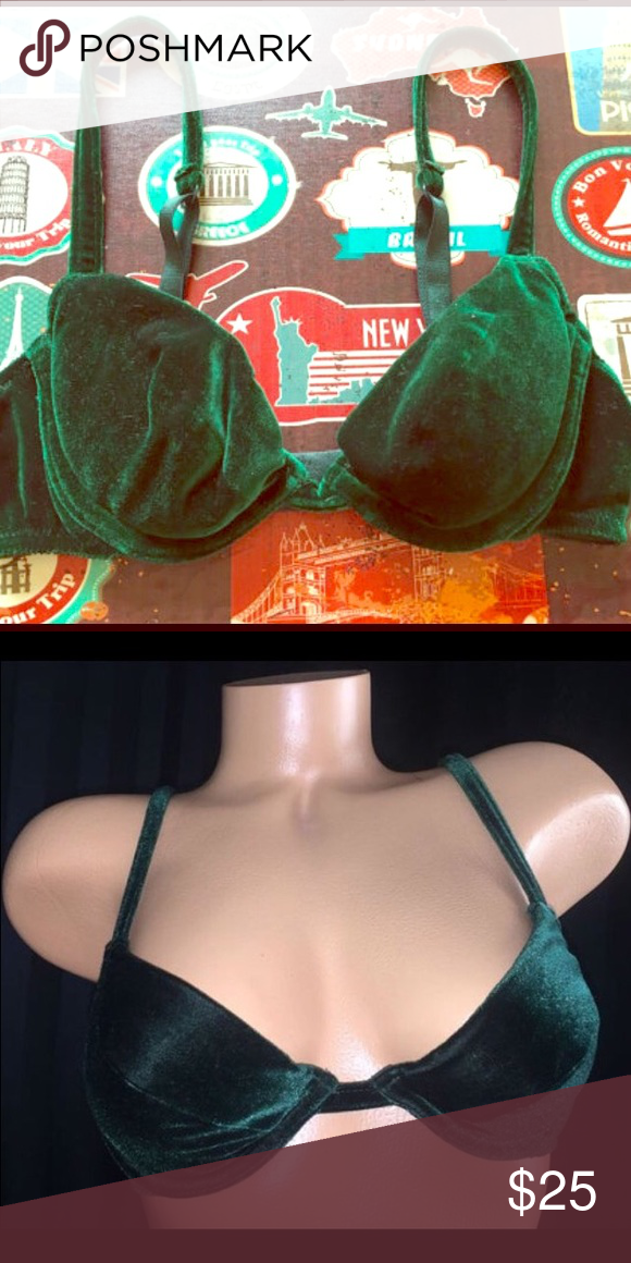 Selling this Victoria's Secret Vintage Green Velvet Bra 32A in my Poshmark closet! My username is: amalia_b_. #shopmycloset #poshmark #fashion #shopping #style #forsale #Victoria's Secret #Other