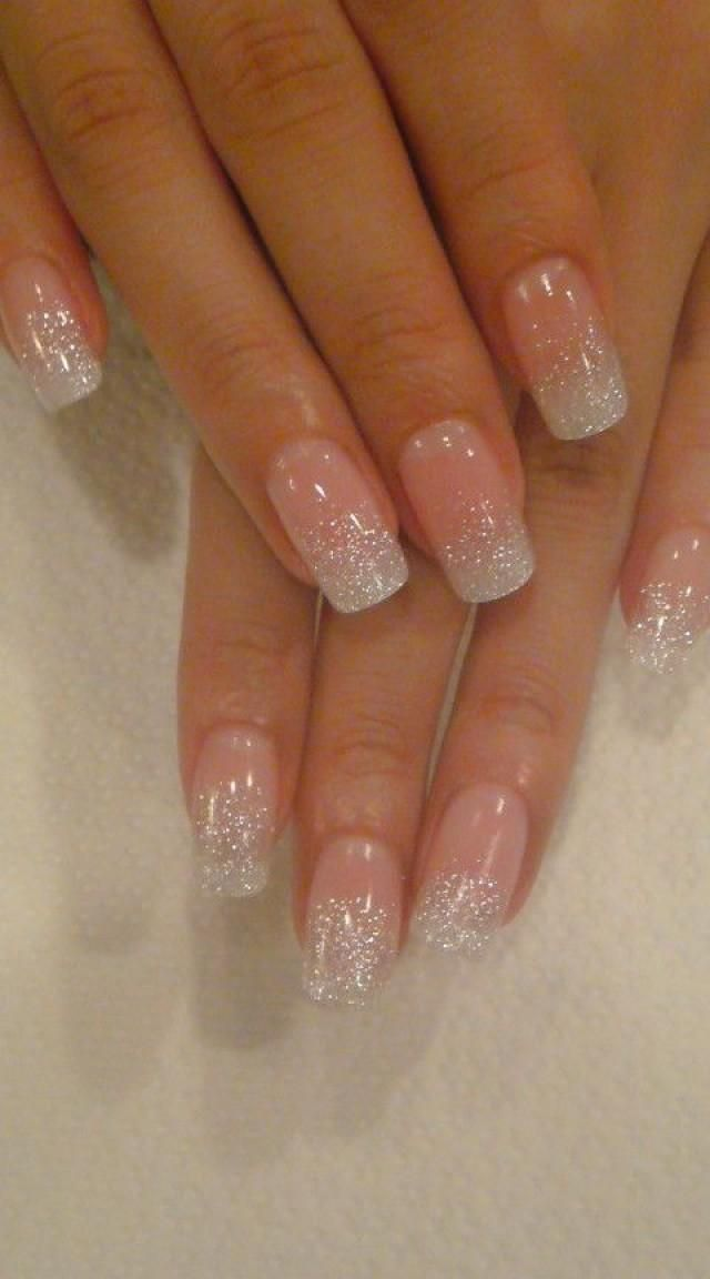 Photo of French tips with gold glitter bands from Tokyo nail salon Jill & Lovers