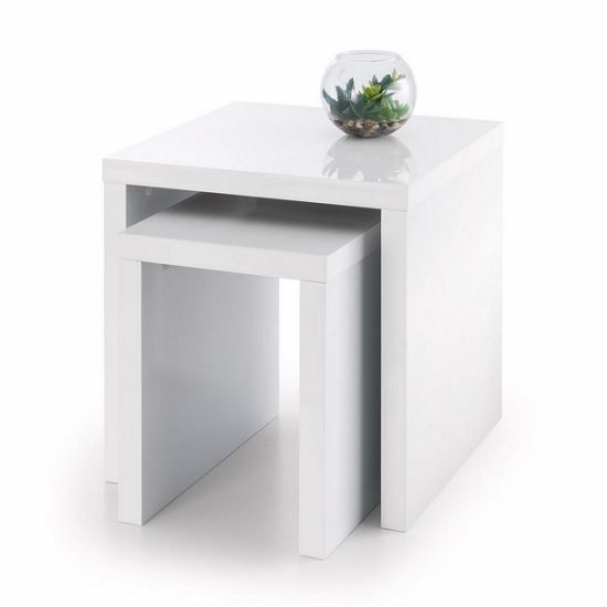 Nice Metric 2 Nesting Tables Square In White High Gloss