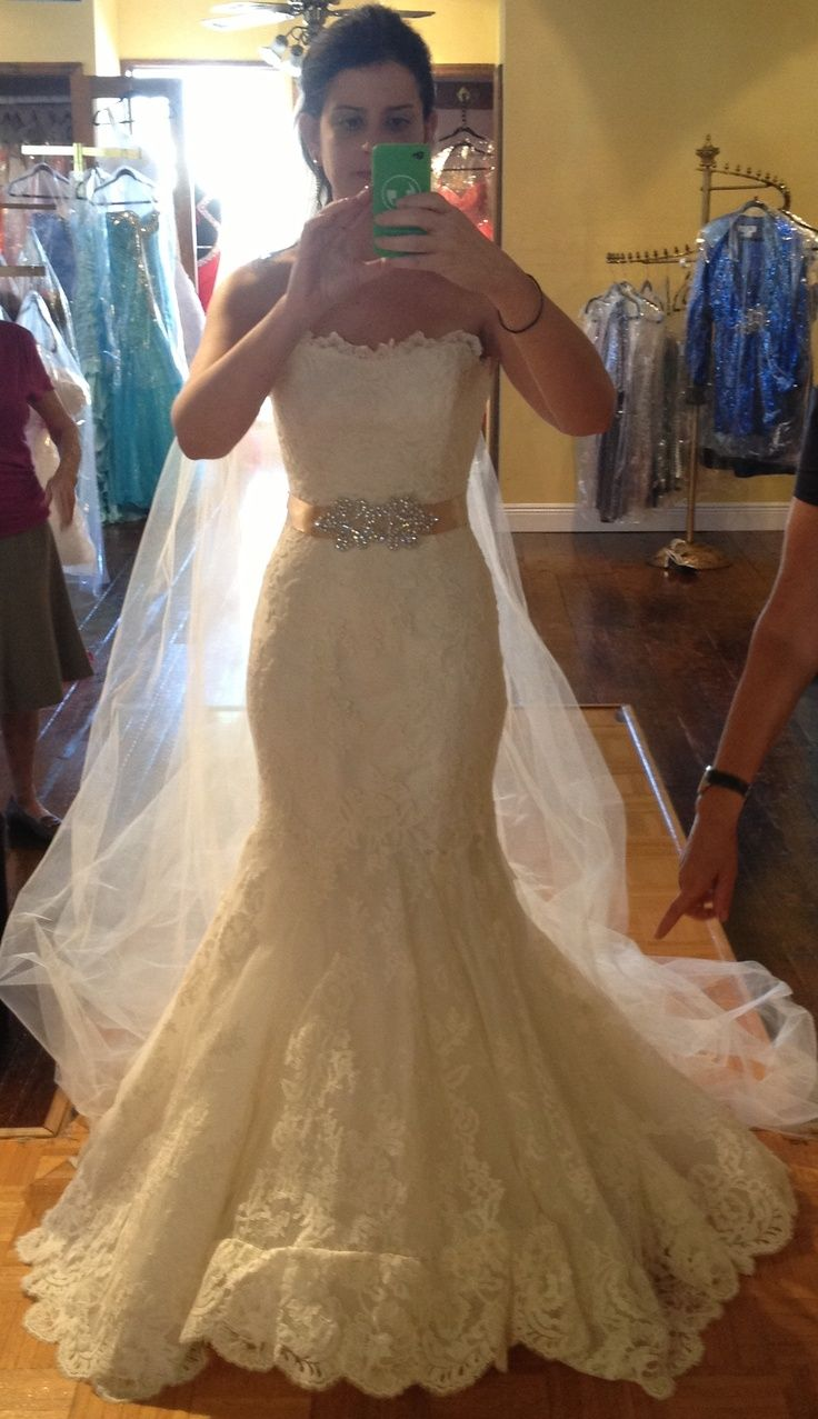 Southern style wedding dresses  Enzoani  Dakota real bride with sparkly belt  countrysouthern