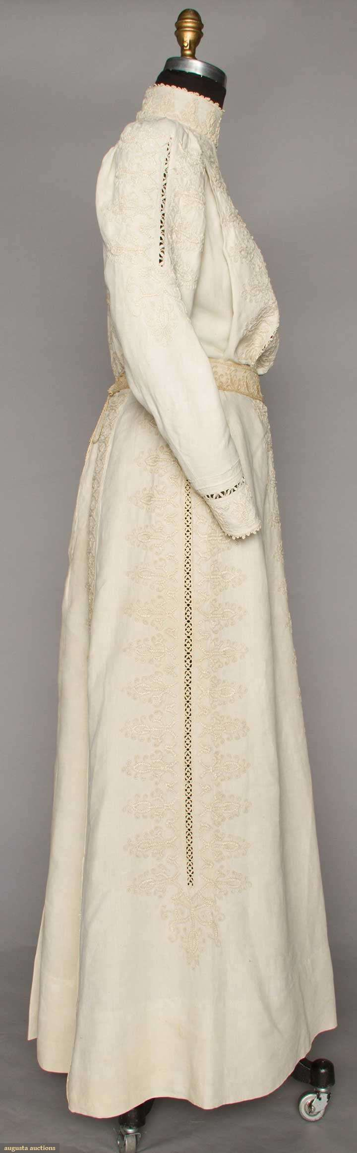 Dress (image 2) | 1906 | embroidered linen | Augusta Auctions | April 20, 2016/Lot 236